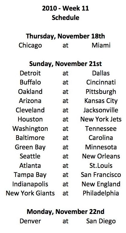 2010 week 11 schedule