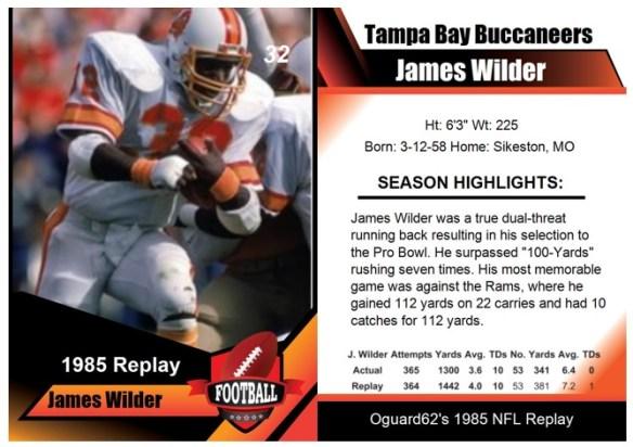 1985 - James Wilder Card