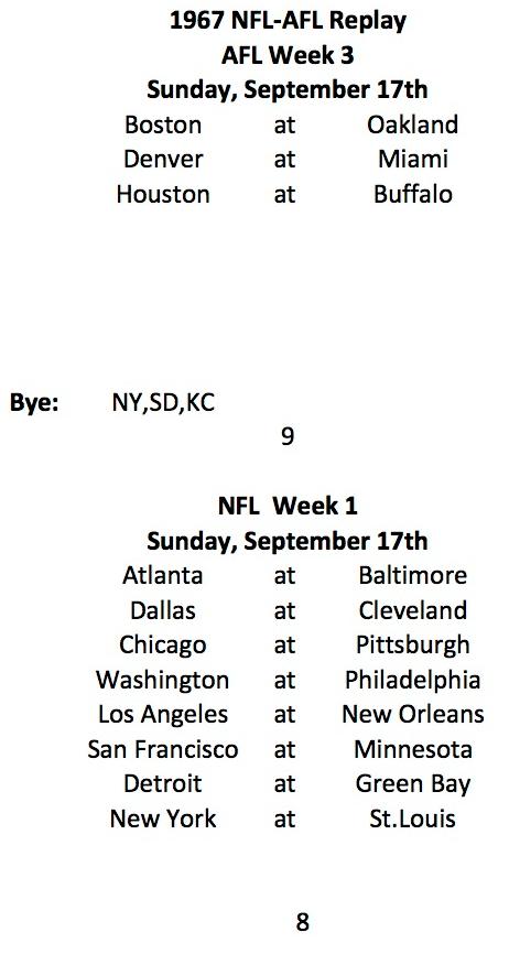 1967 AFL Week 3, NFL Week 1 Schedule