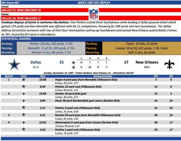 NFL Game #67 Dal at NO