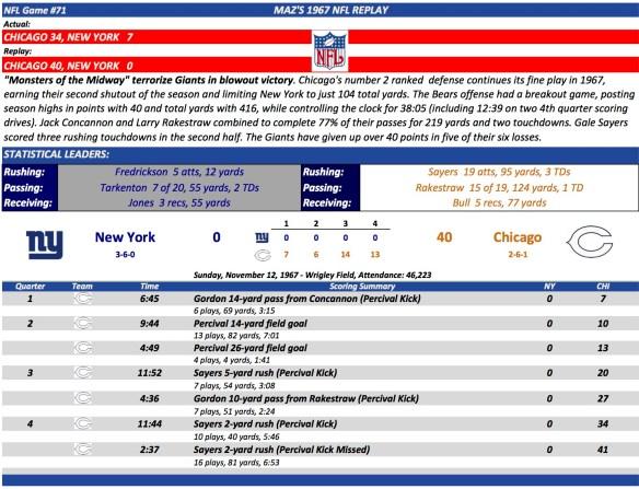 NFL Game #71 NY at Chi