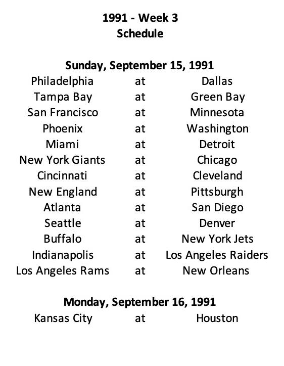 1991 NFL Week 3 Schedule