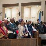L-R: Mrs. Moremi Soyinka-Onijala, Ms. Gbaike Ajayi, Dr. (Mrs.) Folabo Ajayi-Soyinka, Mr. Aron Carlson, Transportation Minister, Rotimi Amaechi, Mrs. Folake Wole-Soyinka, and Prof. Wole Soyinka at the church during the wedding ceremony