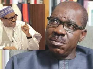 Image of Edo Governor, Obaseki with Buhari inset