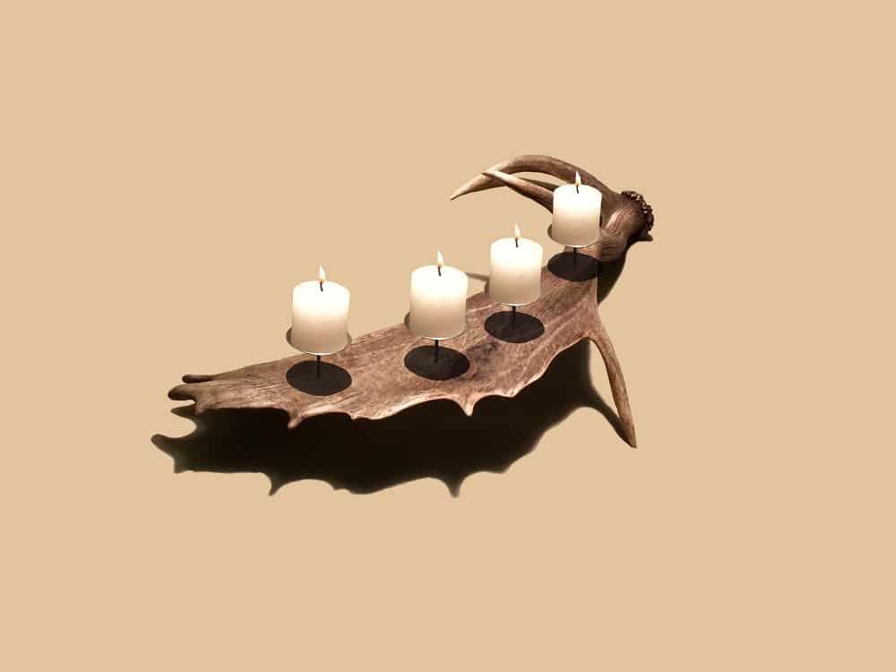 Geweih Kerzenhalter aus Damhirsch, OH MY DEER, Johannes Forkl, Geweih Deko, Hirschgeweih Deko, Kerzenhalter, Chalet Deko
