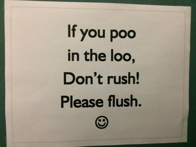 If you poo in the loo, don't rush! Please flush. Bathroom Sign