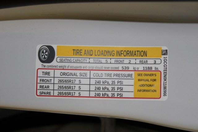 The tire and loading information sticker will show pressures for the front, rear, amd spare. Set to correct pressure to ensure correct tire ware