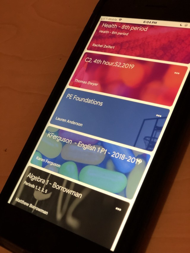 Google Classroom App on a smartphone