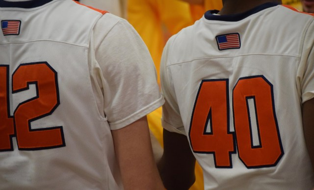 The back of two OHS boys basketball players (42 and 40)