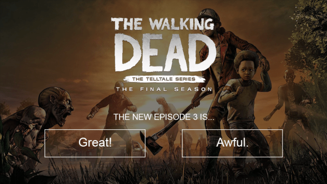 The Walking Dead Final Season illustration. Text: The New Episode 3 is... great? awful?