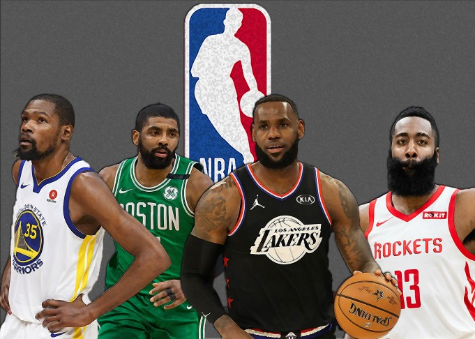 Various NBA athletes in front of the NBA logo.