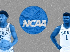 two Duke players surrounding the NCAA logo