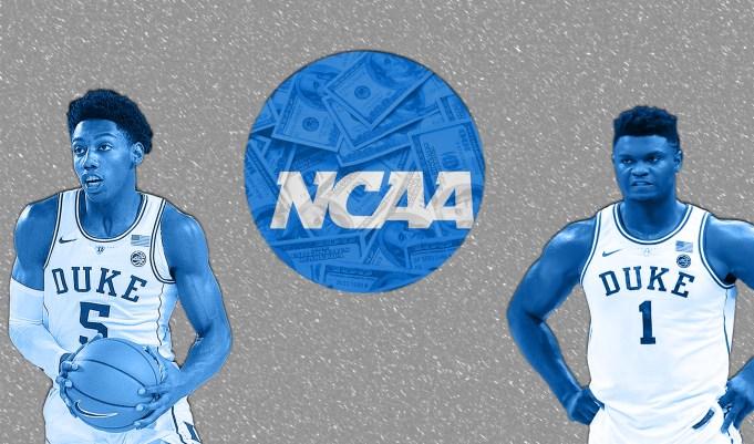 two Duke players surrounding the NCAA logo