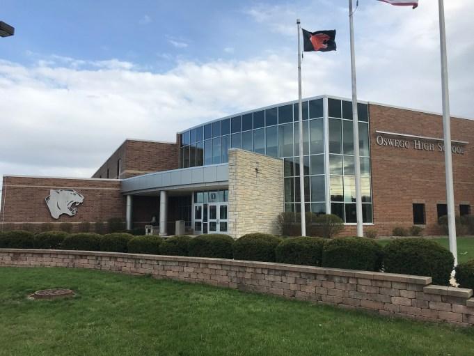 Main entrance of Oswego High School