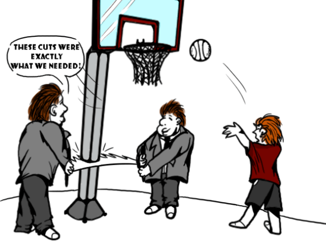 cartoon of two men in suits cutting down a basketball hoop, saying