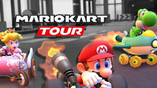 """Nintendo characters Mario, Peach, and Yoshi race past a baclk and white background with the words """"Mario Kart Tour"""" in black and white in the center of the image."""