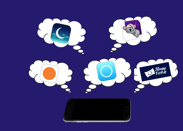 collage of app logos in thought bubbles over phone
