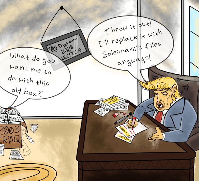 political cartoon of Trump in office telling someone to throw away 2003 Iraq files
