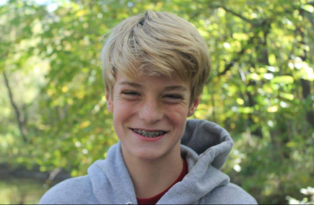 15 year-old Noah McIntyre smiles for a photo