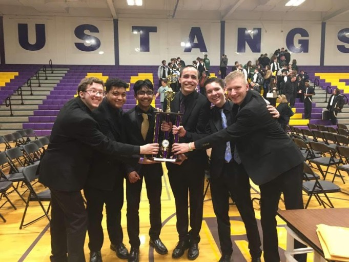 Oswego's Lil' Big Band poses for a photo after winning first place at Rolling Meadows Jazz Fest.