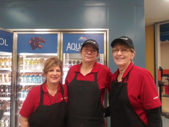 Lunch ladies Debra Marolelli, Janice O'Brien and Jackie Harvey