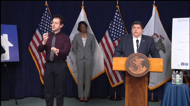Illinois Governor J.B. Pritzker at a press conference