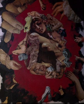 a piece of artwork with hands reaching toward the image of a woman in the middle of the piece.