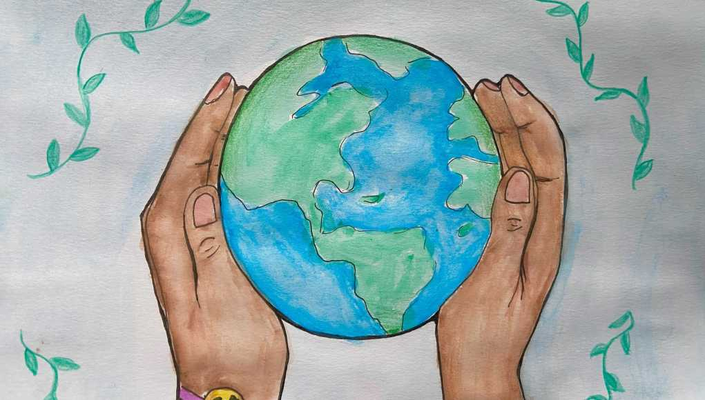 A watercolor painting of the planet being held by someone's hands.