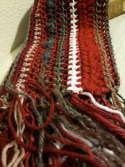 Scarf made with yarn scraps