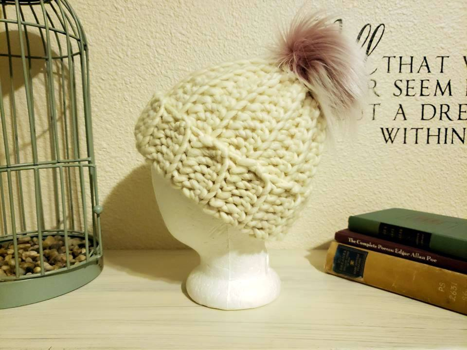 crochet beanie made with cascade yarns merino wool with pink luna lovegood pom pom from rox creations co