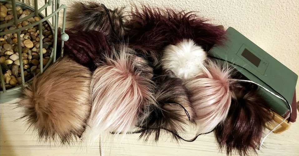 faux fur pom poms from Rox Creations Co