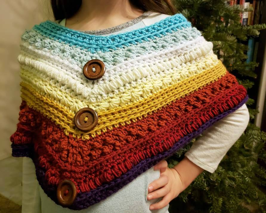 'Ohana desert sunrise infinity poncho scarf pattern crocheted with i love this yarn
