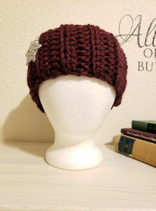 snowflake burgundy ear warmer headband made with lion brand hometown usa yarn