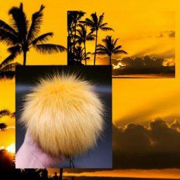 gold yellow hawaiian sunset pom made by 'ohana boutique