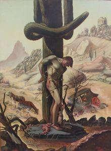 St. Sebastian Martyred at Boulder Pass, Arizona, Lotan Lotan, Oil on Board, Blue Coyote Gallery