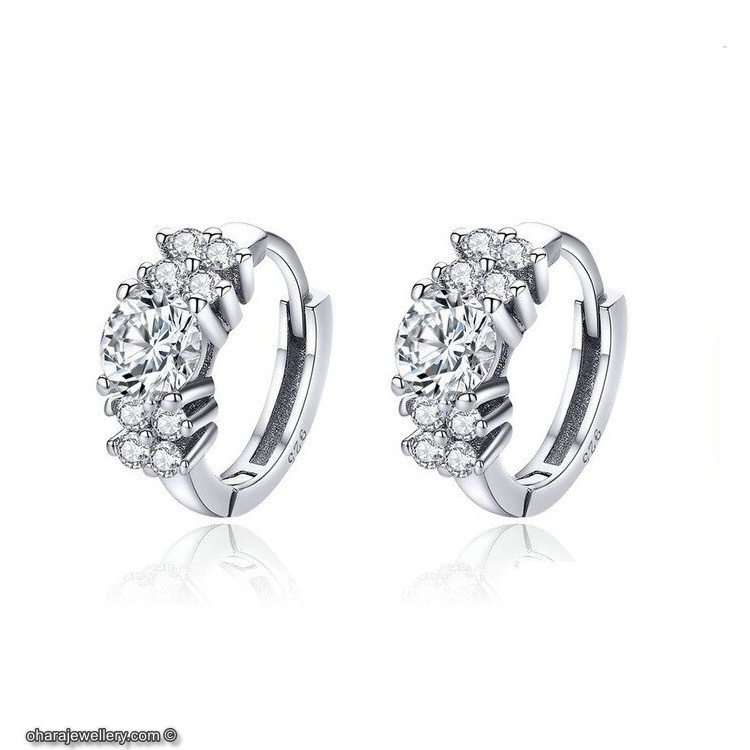 854a238d8 925 Sterling Silver Cubic Zirconia Round Hoop Earrings - Oharajewellery