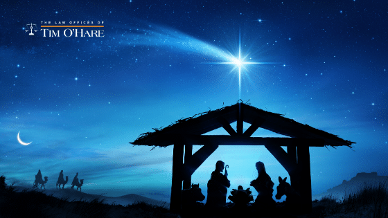 how to find peace this christmas - a manger scene at night with star and wisemen