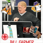 A photo of Bill Famer, Ohayocon 2019 Guest, recording for a cartoon