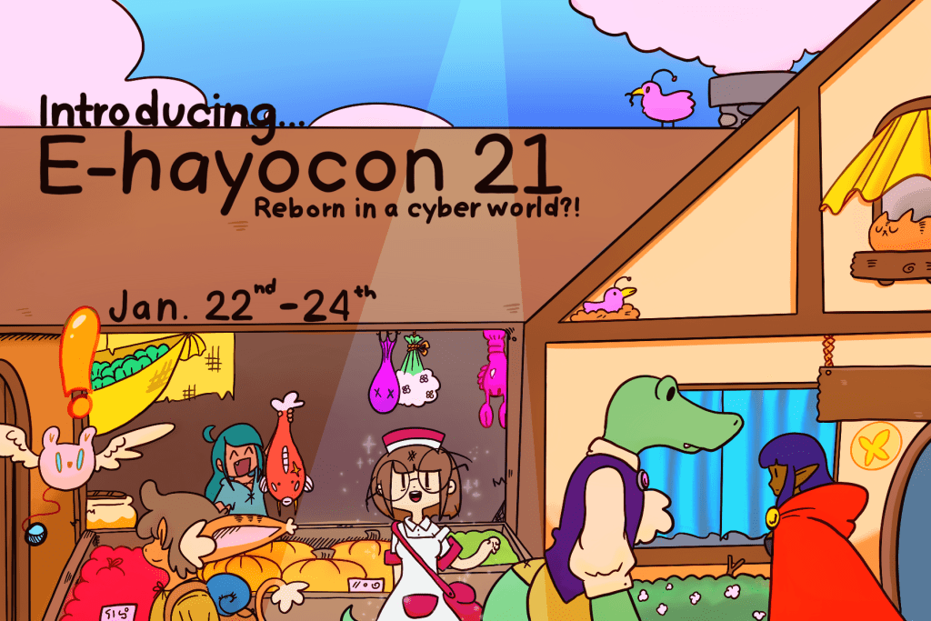 Ohayocon mascot Lindsay Howard stands in a bustling virtual marketplace complete with fish vendor, aristocratic crocodile, dark elf, and foxgirl.