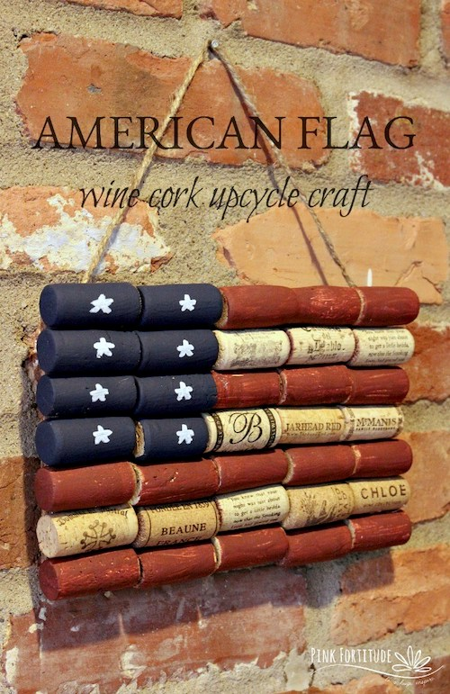 American Flag Wine Cork Upcycle Craft- Fourth of July crafts for seniors