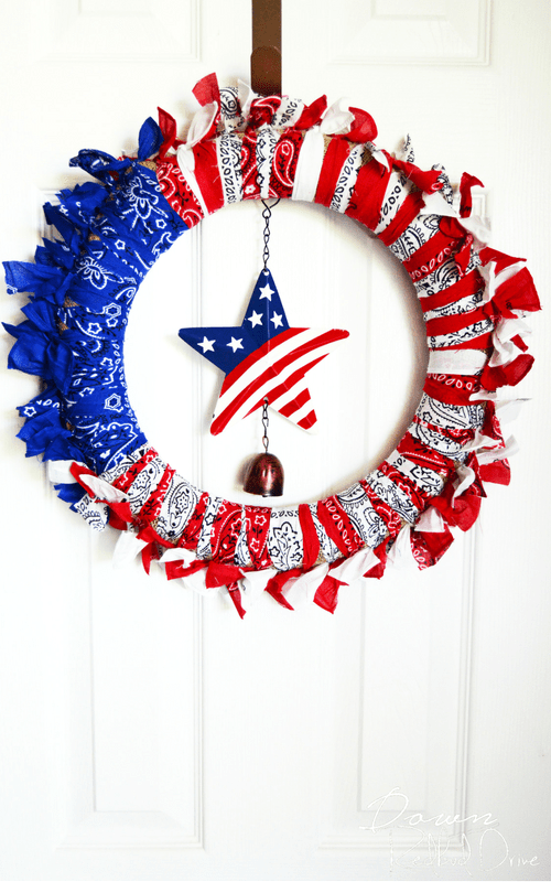 Patriotic Bandana Wreath- DIY 4th of July Crafts to Sell
