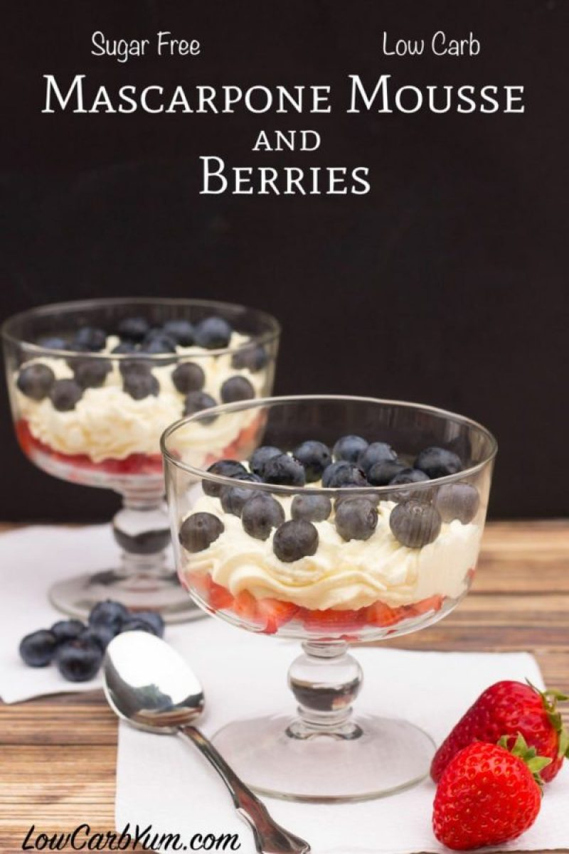 Sugar Free Mascarpone Mousse With Berries   Looking for delicious low carb and Keto 4th of July Desserts? I've got the perfect treats for you! These 4th of July Keto desserts recipes are perfect for the celebration and will make sure you stay on track with your ketogenic diet while still enjoying mouthwatering sugar-free and low carb keto desserts. How to have a low carb 4th of July party. #ketodessert #lowcarbdessert #fatbombs #4thofjuly #4thofjulydesserts