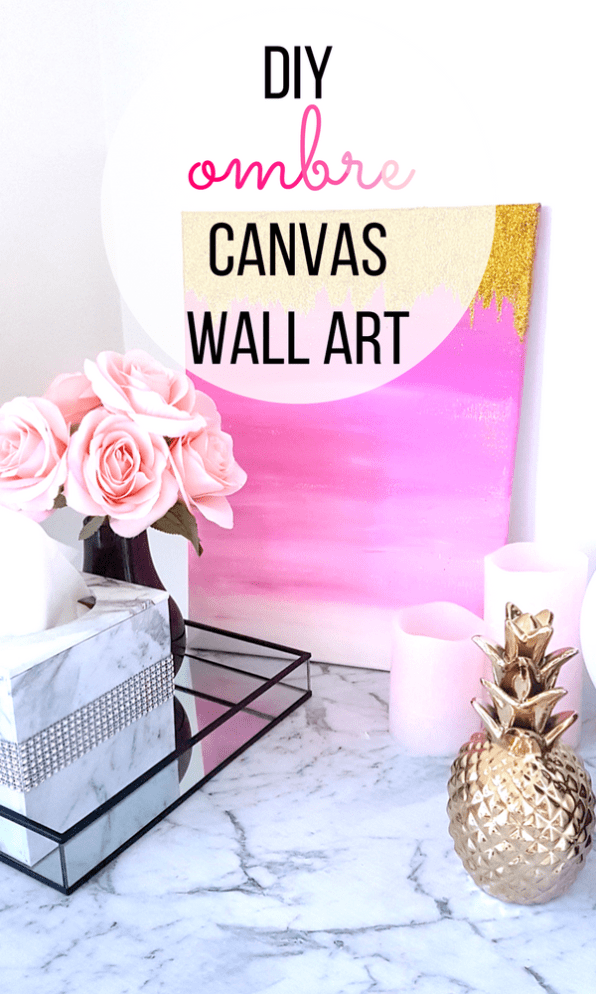 Diy Pink Ombre Wall Art With Gold Glitter Ohclary