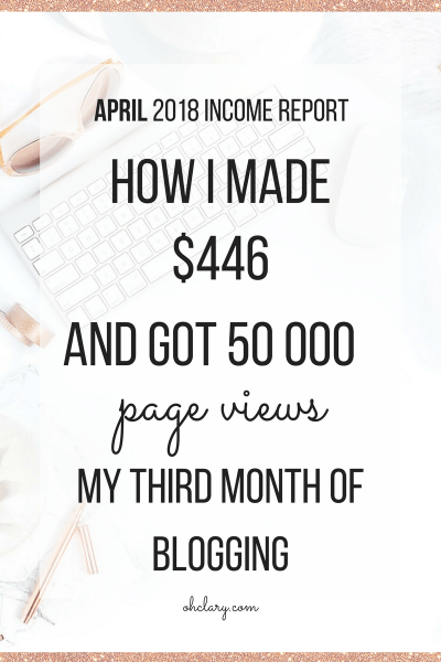 Third Month - April 2018 Blogging Income Report - How I made $446 and achieved 50 009 page views in my third month of blogging. I am sharing my third month income report to inspire you to start a blog of your own. You CAN make money as a brand new blogger. April 2018 Blog Income Report, April income report, blog income report 2018, third blog income report, how to make money online, blogging income report, new blog income report, monthly income report#blogincome#blogincomereport #incomereport