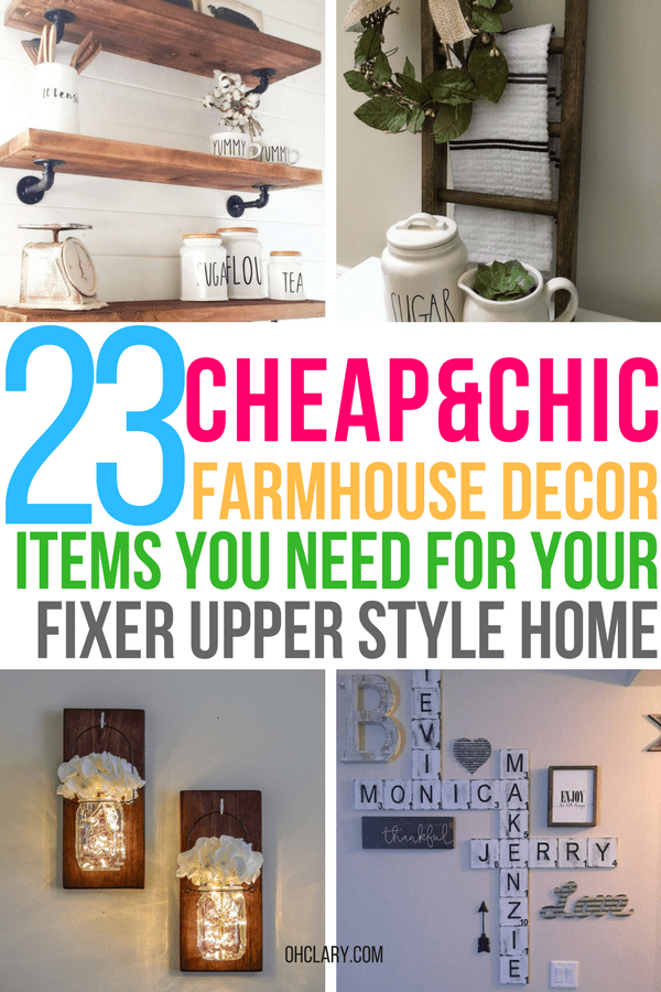 Are you looking for cheap farmhouse decor items but don't know where to buy farmhouse decor on a budget? I've got just the list for you! I have gathered all of my favourite rustic and vintage farmhouse decor items to this list. From beautiful farmhouse wall art to kitchen accessories! Get the fixer-upper look for cheap! Farmhouse decor living room, Joanna Gaines approved, Modern farmhouse decor #farmhousedecor #farmhousekitchen