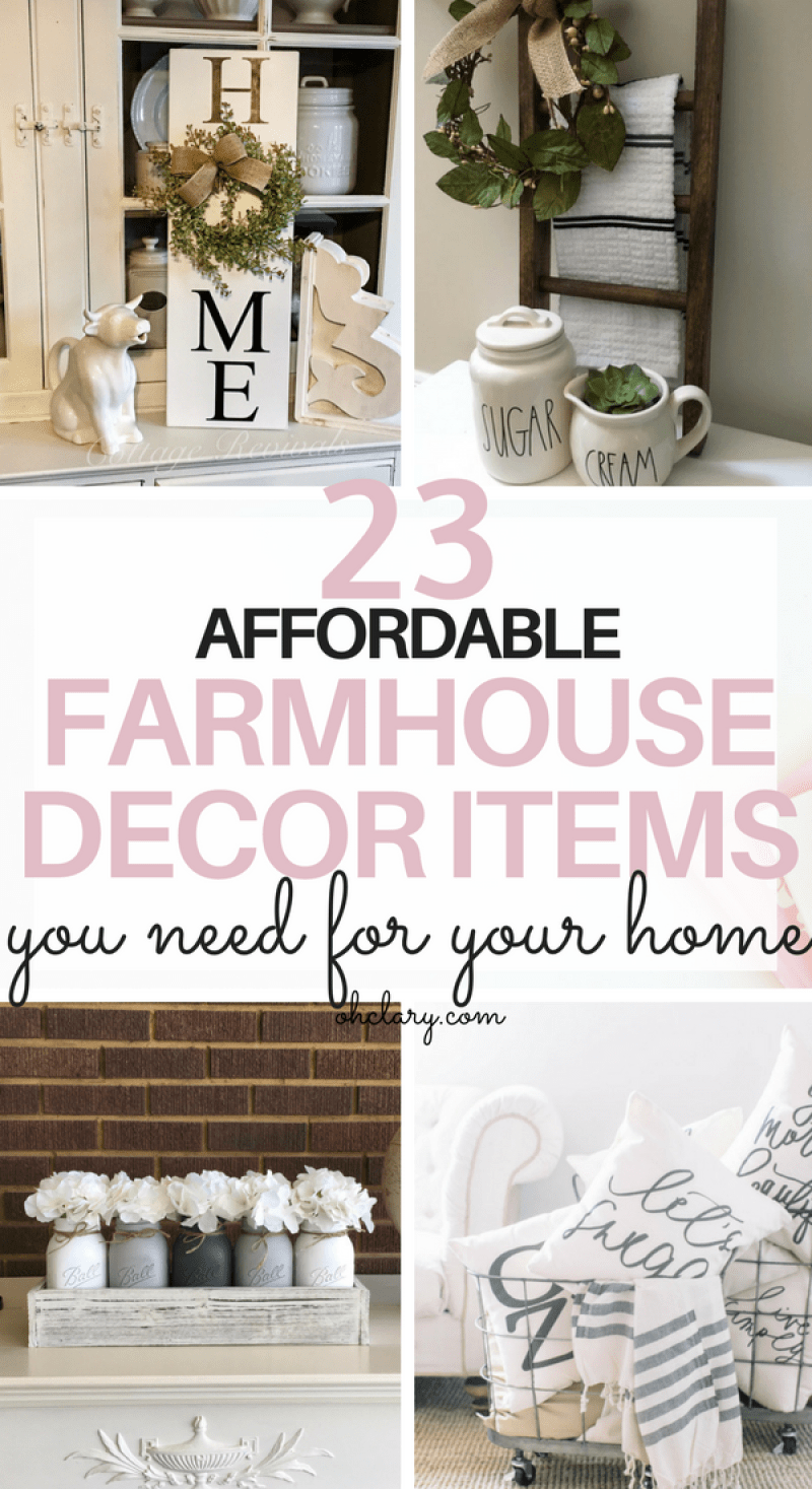 23 Cheap farmhouse decor items that look amazing. Are you looking for cheap farmhouse decor items but don't know where to buy farmhouse decor on a budget? I've got just the list for you! I have gathered all of my favourite rustic and vintage farmhouse decor items to this list. From beautiful farmhouse wall art to kitchen accessories! Get the fixer-upper look for cheap! Farmhouse decor living room, Joanna Gaines approved, Modern farmhouse decor #farmhousedecor #farmhousestyle