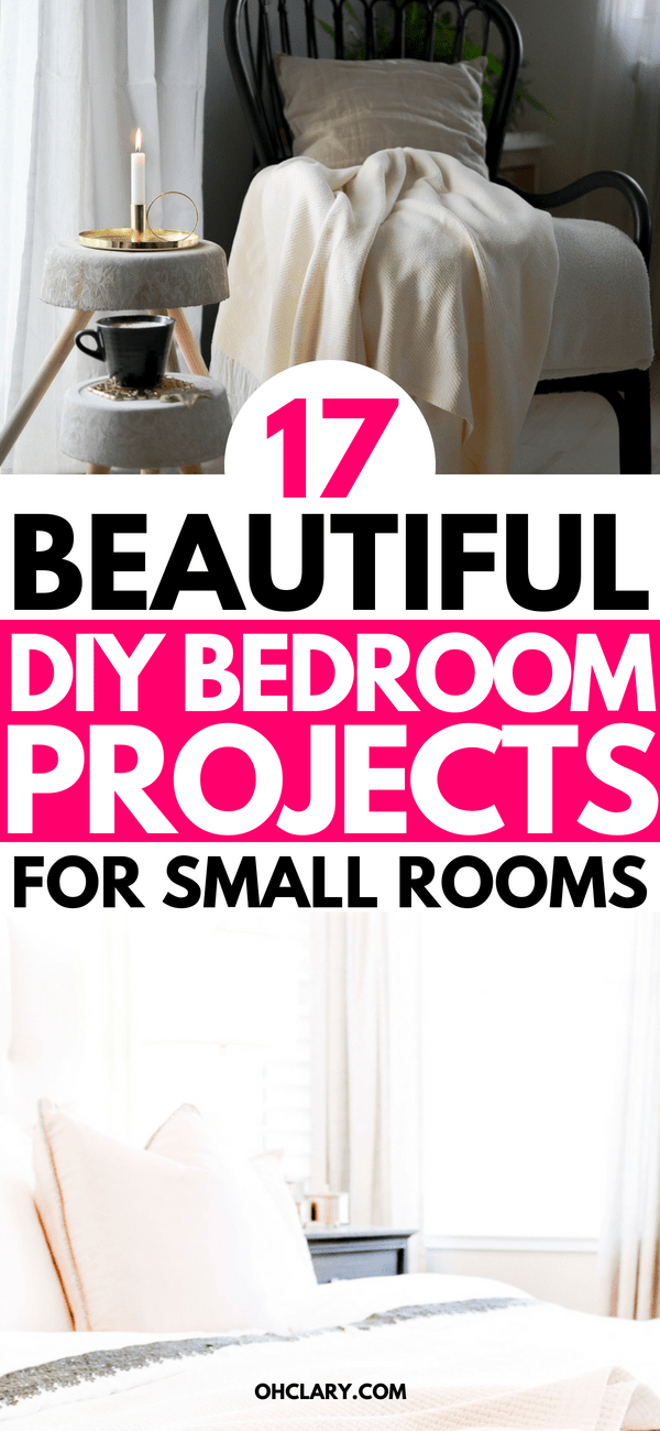 DIY bedroom decor ideas on a budget to make your small room look amazing. These 17 DIY bedroom decor projects are perfect for couples and singles. #bedroom #bedroomideas #bedroomdecor #diyhomedecor