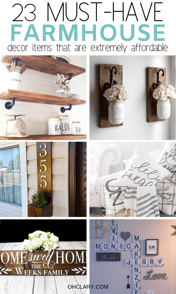 23 Affordable Farmhouse Style Decor Items You Need In Your Rustic Home! From farmhouse wall art to vintage farmhouse decor and rustic decor. You can find so many new items for your farmhouse style home! Cheap farmhouse decor on budget ideas and more. Transform your living room, kitchen, and bedroom with DIY rustic farmhouse decor. #farmhousestyle #farmhousedecor