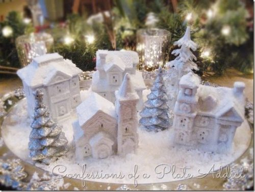 DIY Dollar Tree Snow Village by Confessions Of A Plate Addict - 30 Incredible Dollar Store DIY Christmas Decor Ideas. Easy to make decorations that you can do on a small budget. Make beautiful and easy centrepieces, ornaments, candle holders and mason jar crafts. These awesome Dollar Tree DIY Christmas crafts are simple enough to be made with your kids. Just click on this to find out more or pin for later!