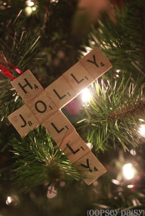 DIY Scrabble Tile Ornament by Oopsie Daisy - 30 Incredible Dollar Store DIY Christmas Decor Ideas. Easy to make decorations that you can do on a small budget. Make beautiful and easy centrepieces, ornaments, candle holders and mason jar crafts. These awesome Dollar Tree DIY Christmas crafts are simple enough to be made with your kids. Just click on this to find out more or pin for later!